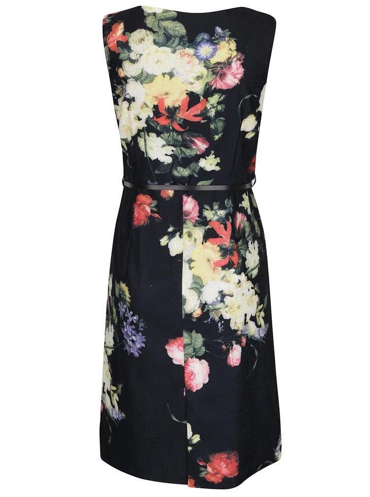Rochie neagră Smashed Lemon cu model floral și curea subțire