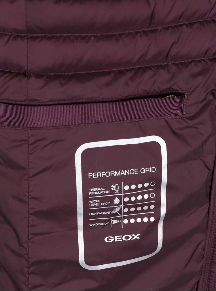 Vínový dámsky páperový funkčný prešívaný kabát s kapucňou Geox