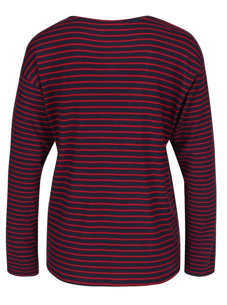 Červeno-modré pruhované tričko s dlouhým rukávem ONLY Sannie