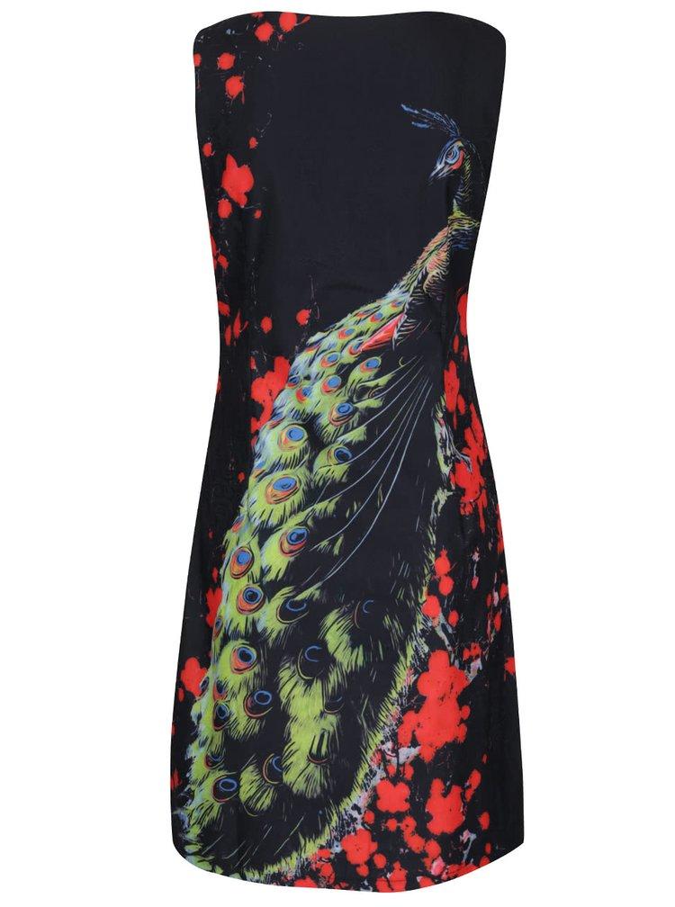 Černé šaty s motivem páva Smashed Lemon