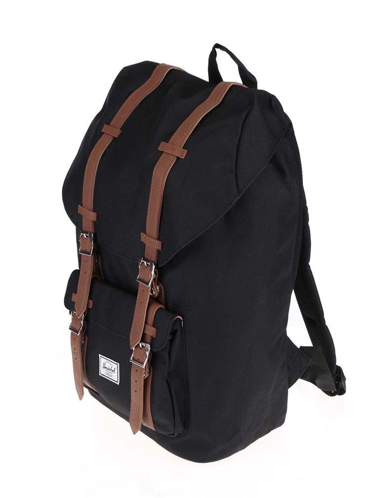 Černý batoh s hnědými popruhy Herschel Little America 25 l