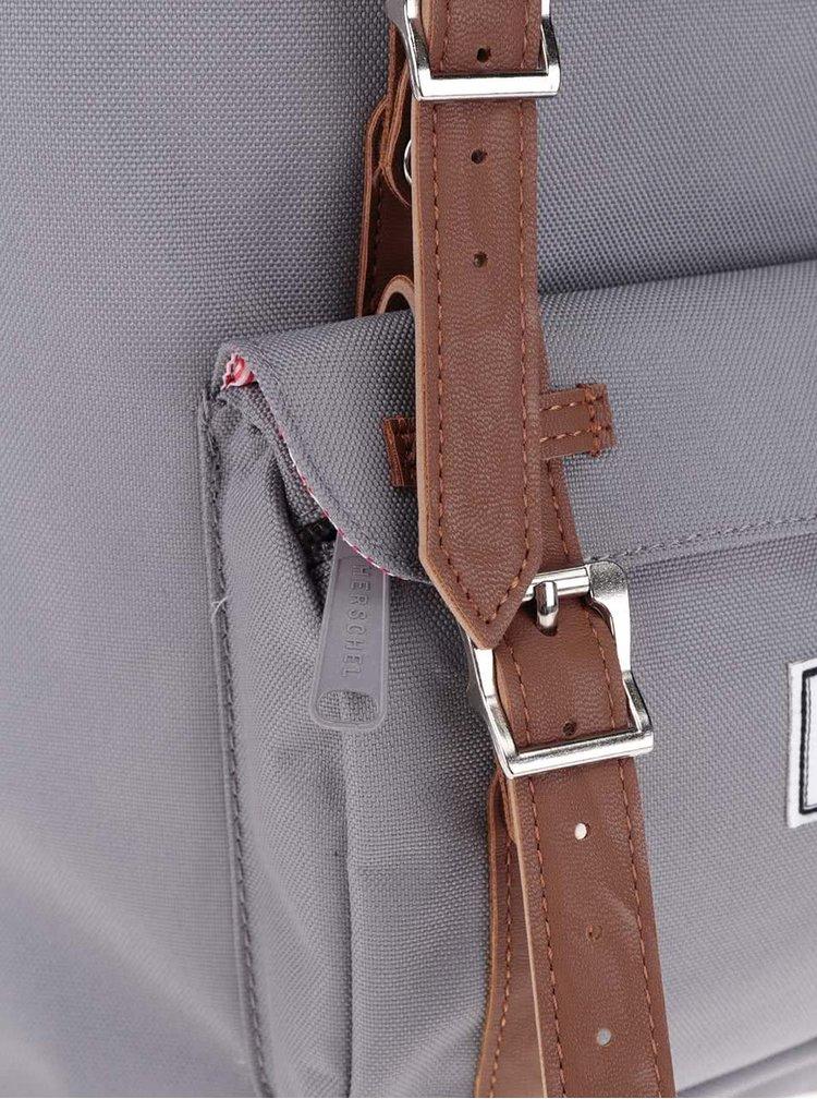 Šedý unisex batoh s hnědými popruhy Herschel Little America M 17 l
