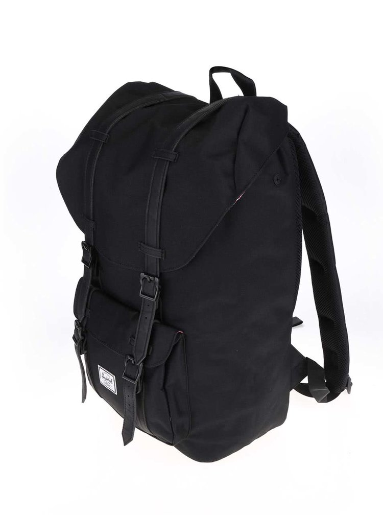 Čierny batoh s čiernymi popruhmi Herschel Little America