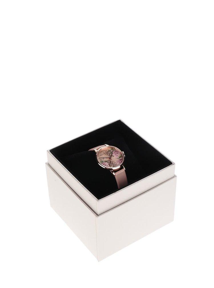 Hodinky ve zlaté barvě s růžovým koženým páskem Olivia Burton