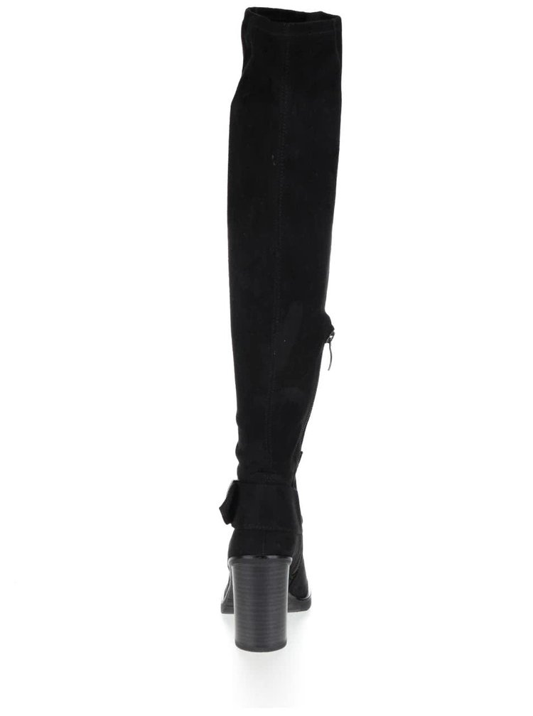 Černé vysoké kozačky v semišové úpravě s páskem na kotníku Tamaris