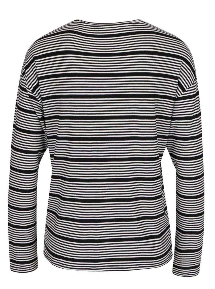 Černo-bílé pruhované tričko s dlouhým rukávem ONLY Sannie
