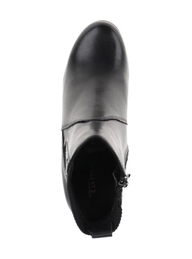 Černé kožené kotníkové boty na klínku Tamaris