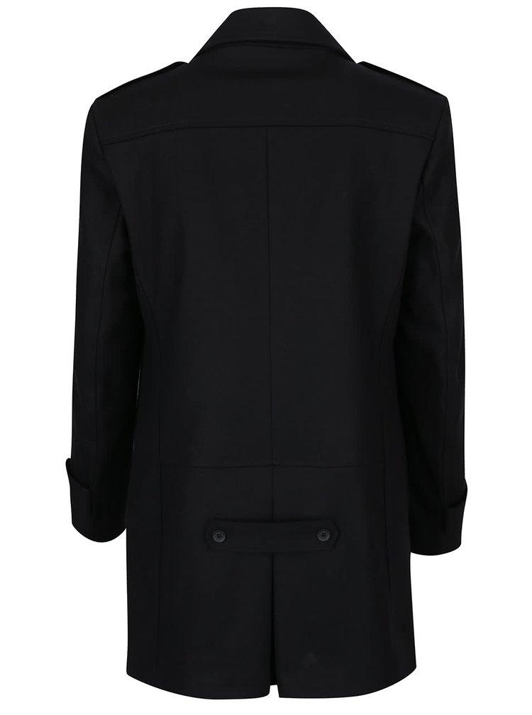 Černý vlněný kabát Bertoni