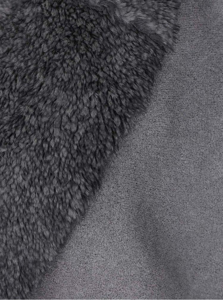 Světle šedá vesta s umělou kožešinou ZOOT