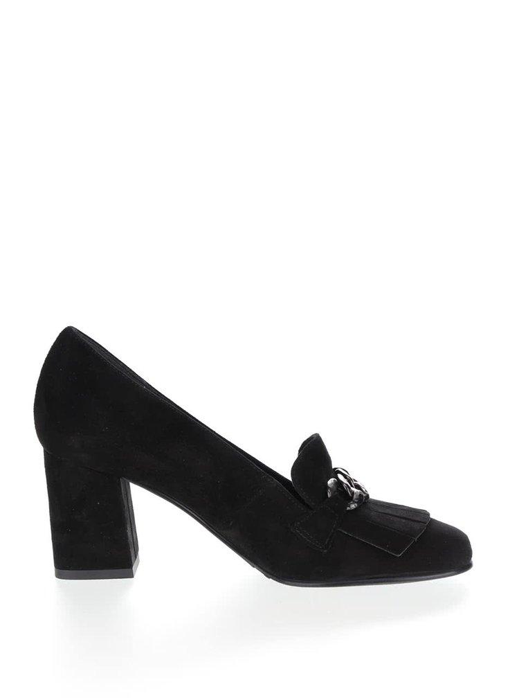 Pantofi negri Tamaris cu dealiu zale și franjuri