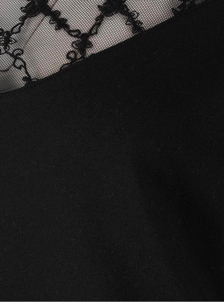 Černá mikina s průsvitným krajkovým dekoltem VILA Lira