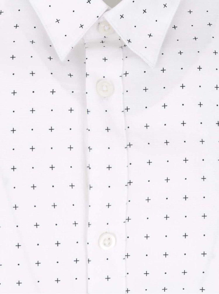 Krémová slim fit košeľa s čiernym vzorom Selected Homme Done Newton