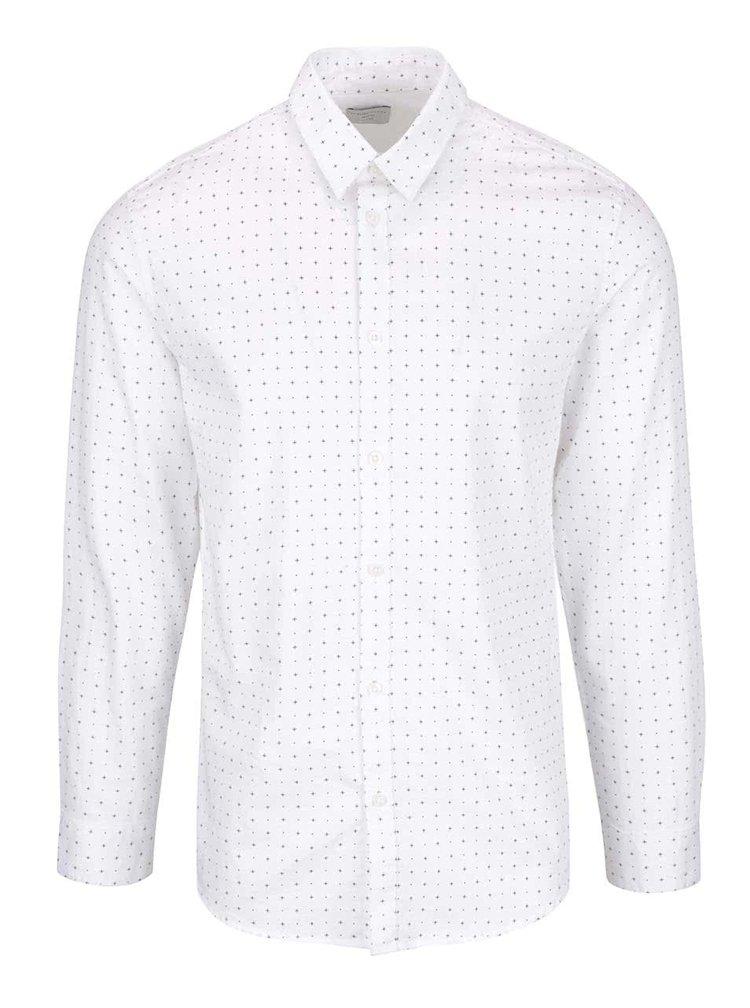 Krémová slim fit košile s černým vzorem Selected Homme Done Newton
