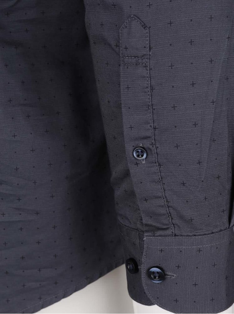 Modrošedá slim fit košile s černým vzorem Selected Homme Done Newton