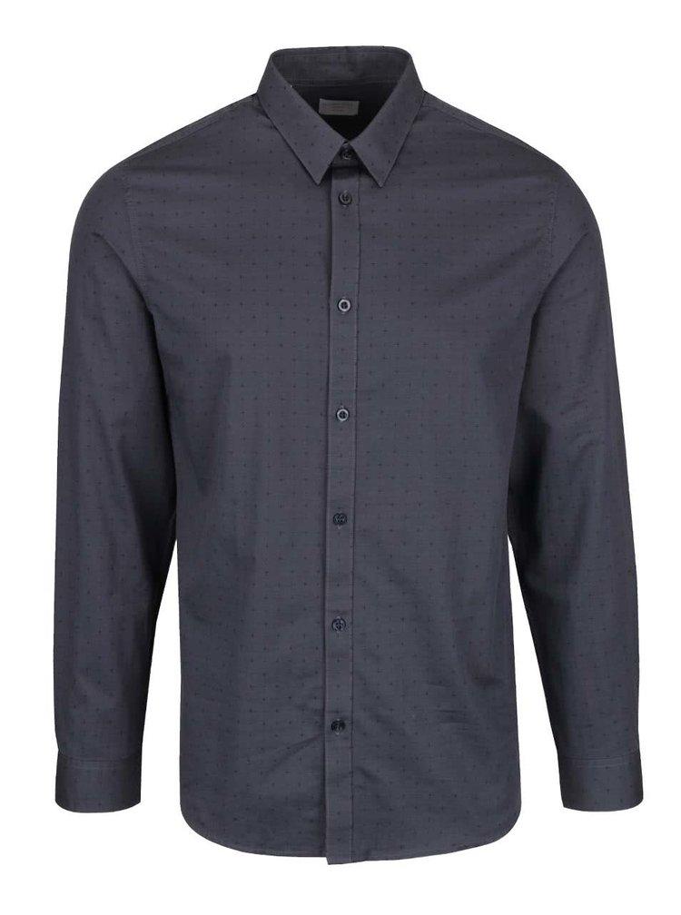 Modrosivá slim fit košeľa s čiernym vzorom Selected Homme Done Newton