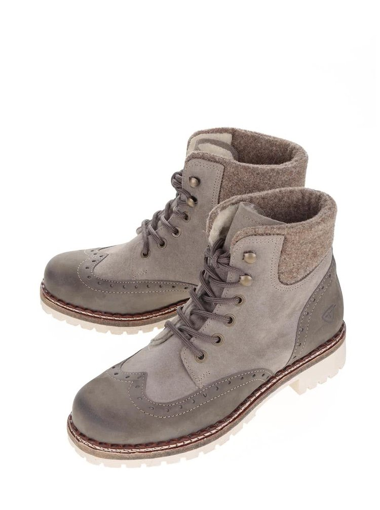 Šedé kotníkové boty s umělou kožešinou Tamaris
