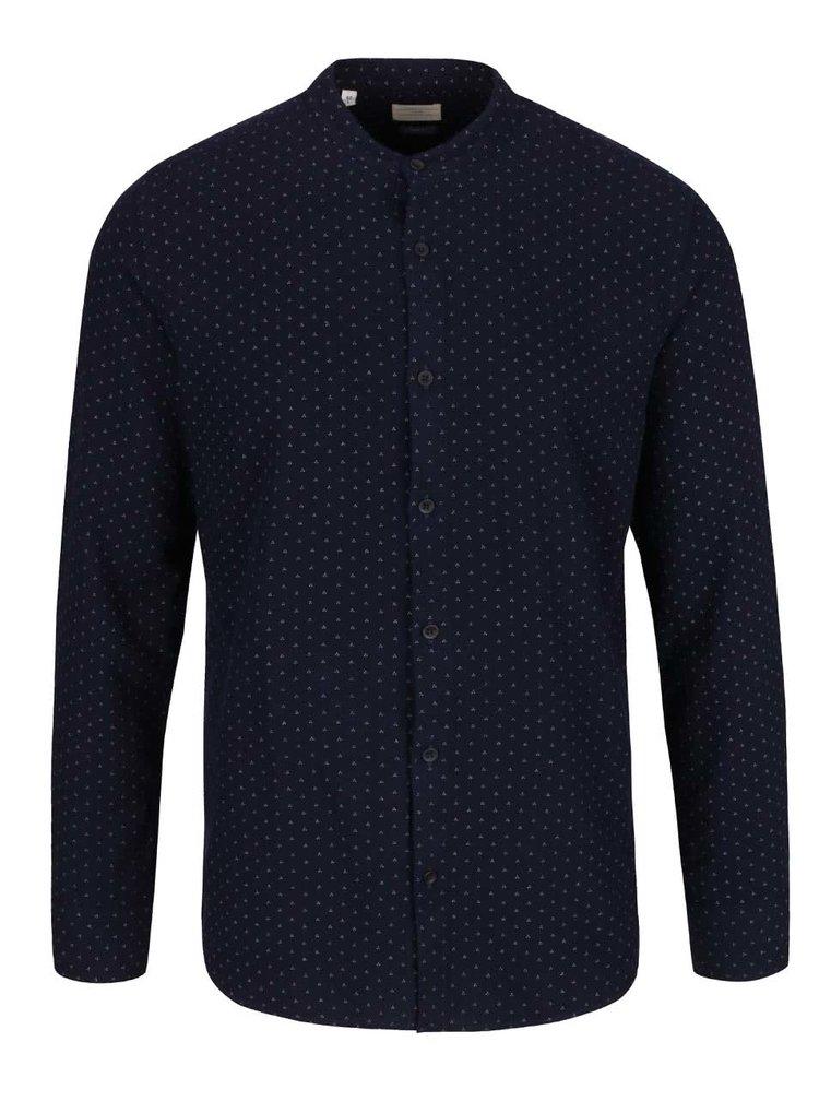 Tmavě modrá vzorovaná slim fit košile bez límečku Selected Homme No Neaslak
