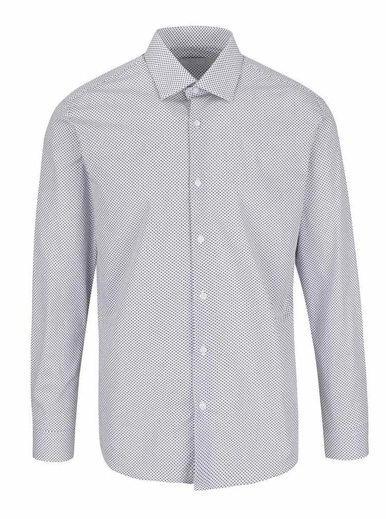 Bílá slim fit košile s šedým vzorem Selected Homme Donepen Timper