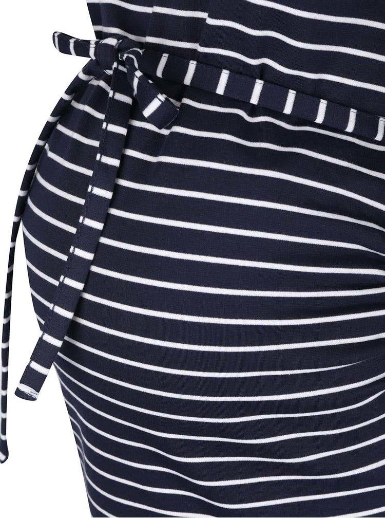 Tmavomodré pruhované tehotenské šaty Mama.licious Blackie