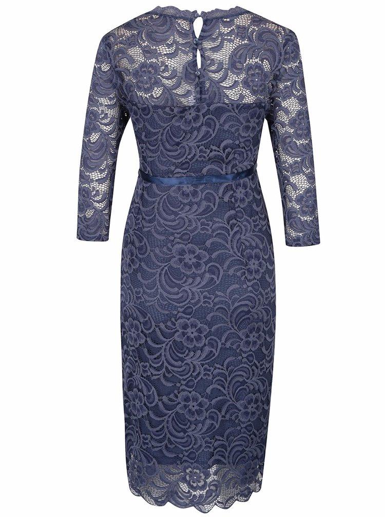 Modré krajkované těhotenské šaty s 3/4 rukávy Mama.licious Mivana
