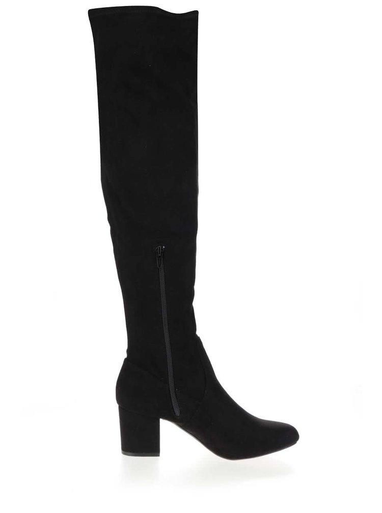 Černé kozačky na podpatku v semišové úpravě Dorothy Perkins Taster
