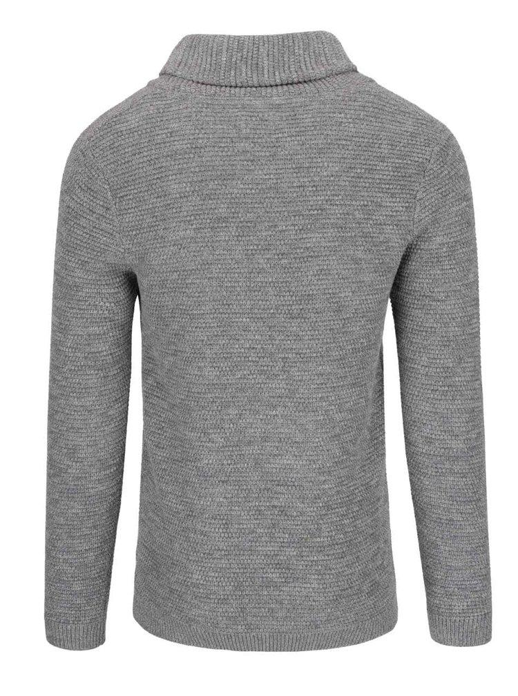 Šedý svetr s vysokým límcem Selected Homme New Win Cebubble