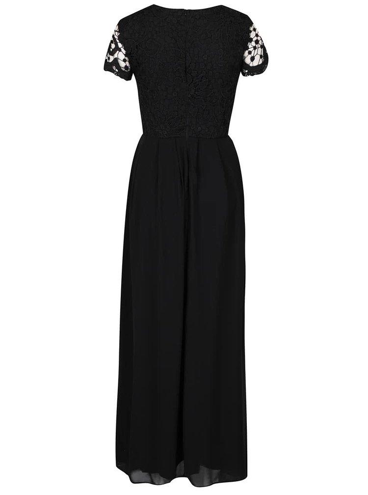 Rochie lunga neagra AX Paris cu detaliu din dantela