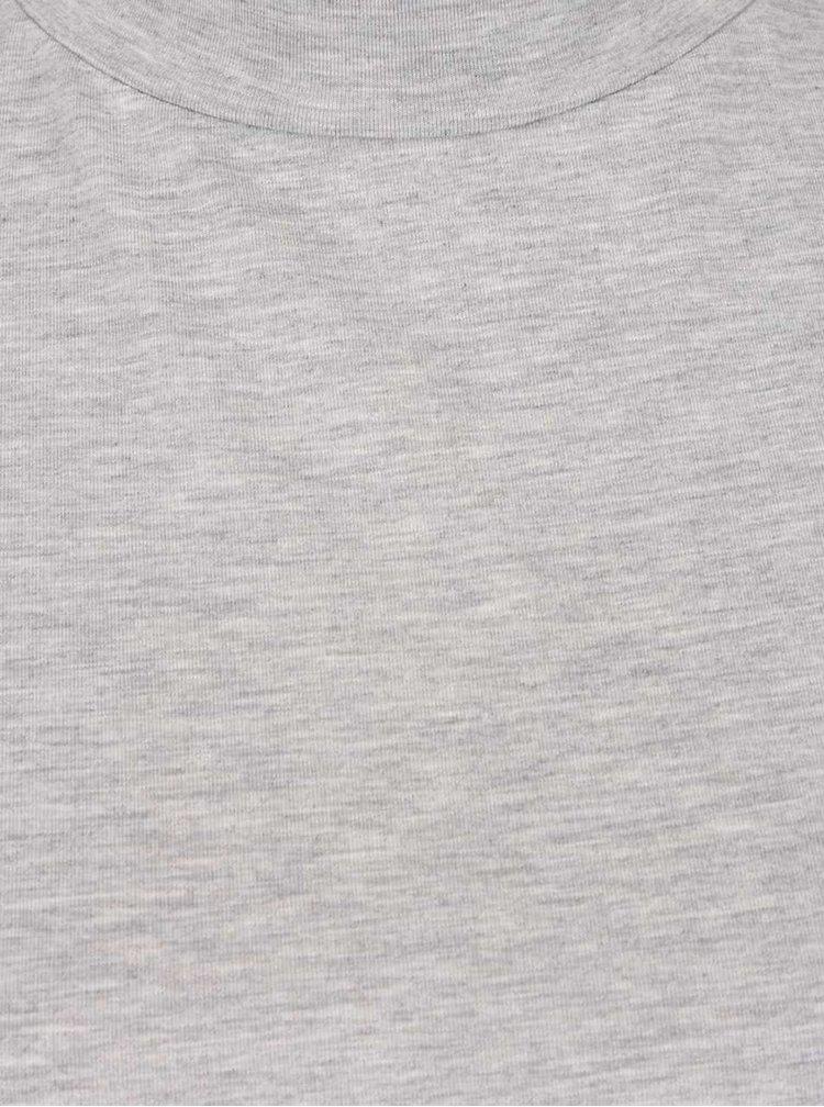 Šedé žíhané tričko s dlouhým rukávem a vyším límcem Dorothy Perkins