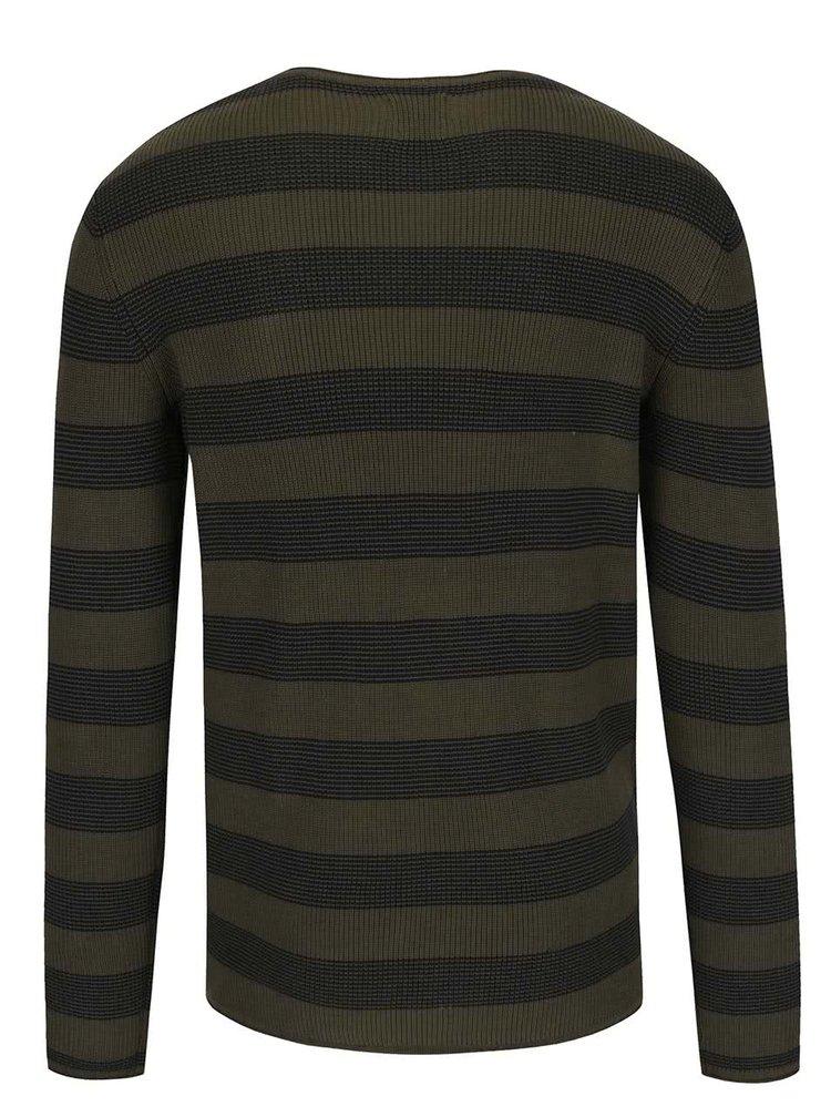 Khaki pruhovaný svetr Selected Homme Henry