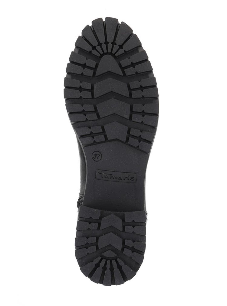 Cizme negre Tamaris de piele cu platformă