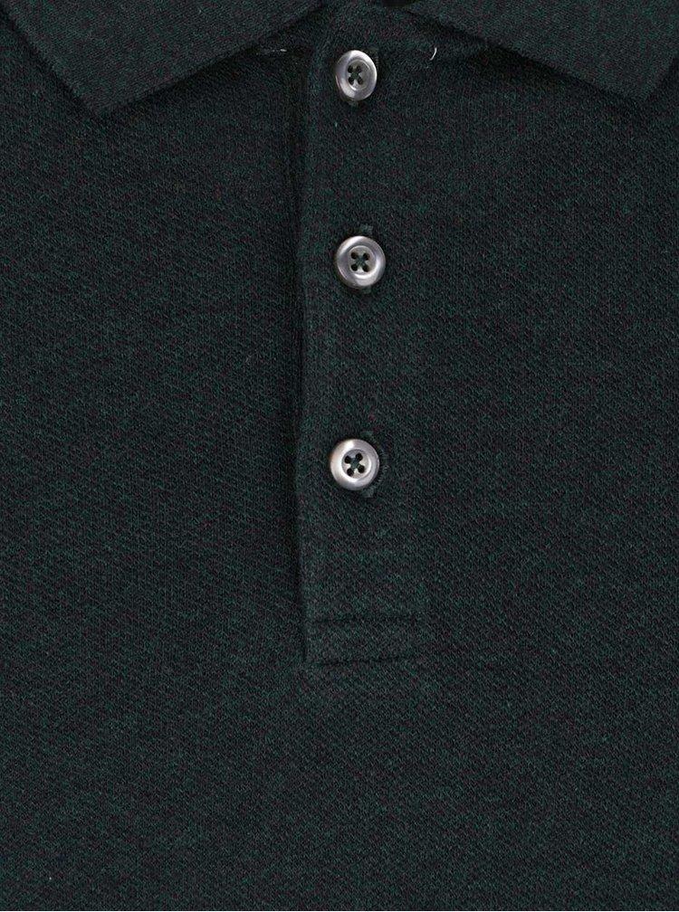 Tmavě zelené triko s dlouhým rukávem a límečkem Selected Homme Casual