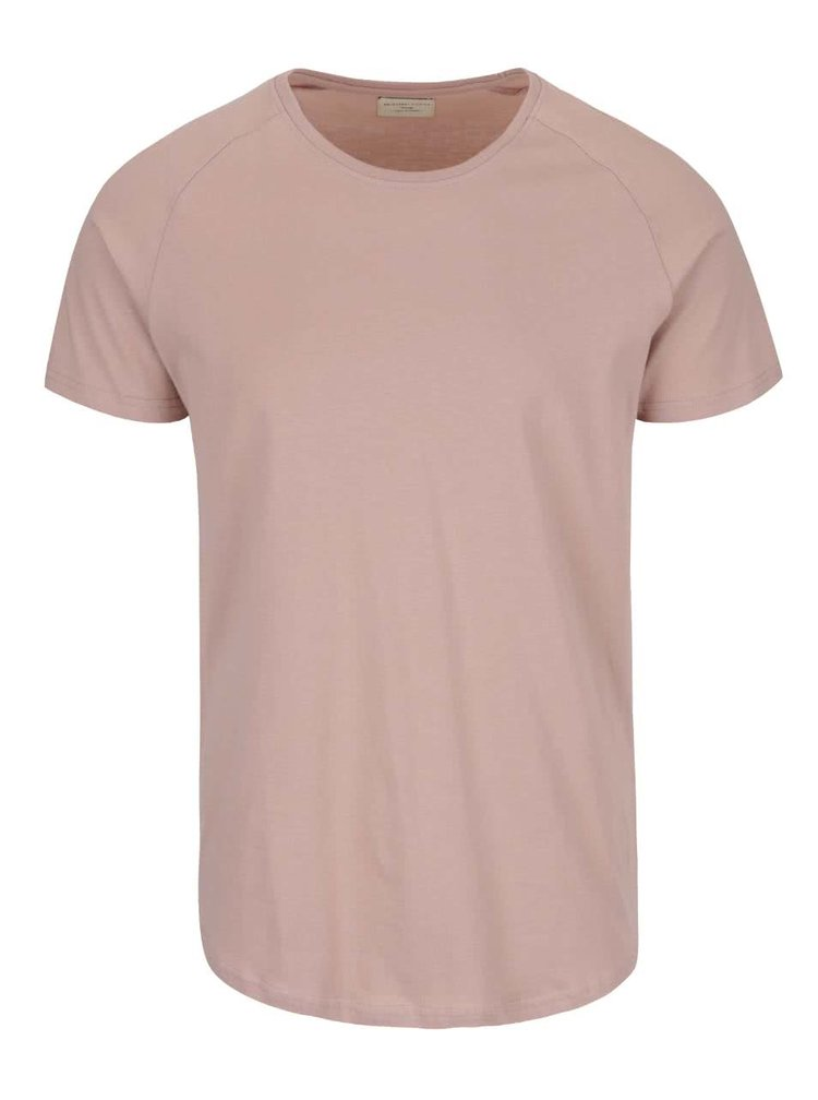 Tricou roz pal Selected Homme Curve din bumbac
