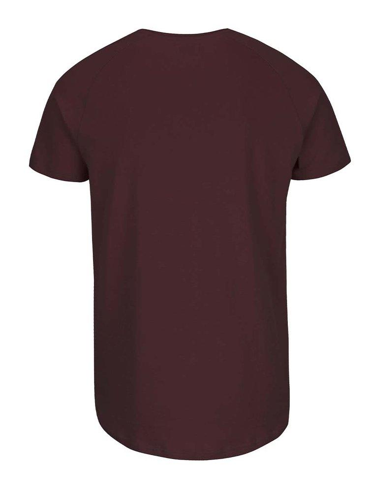 Vínové triko s krátkým rukávem Selected Homme Curve
