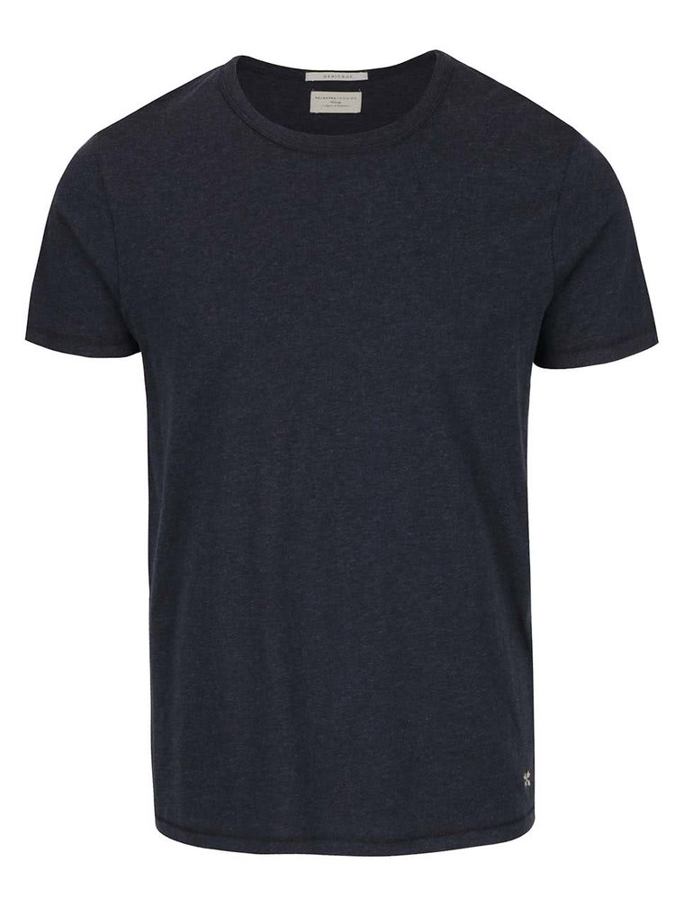 Tricou bleumarin Selected Homme Feel din bumbac
