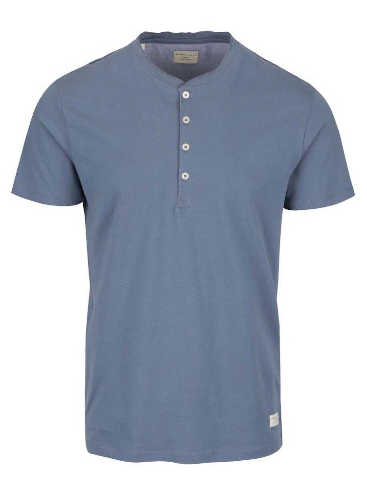 Šedomodré tričko s knoflíky Selected Homme Niklas