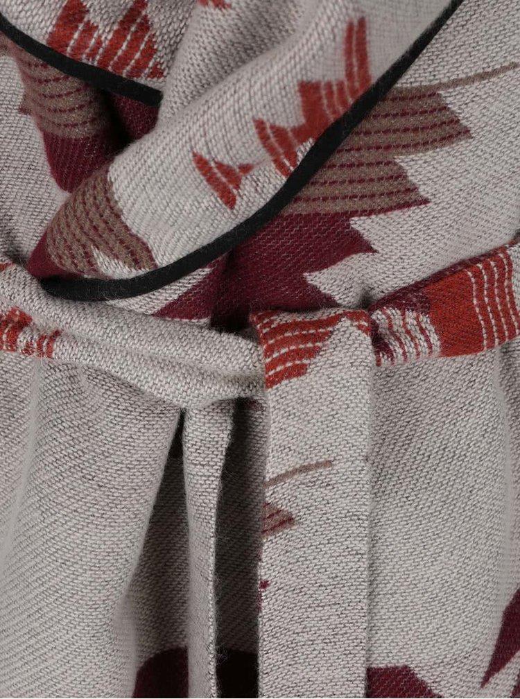 Šedo-červený cardigan s páskem VERO MODA Centrall