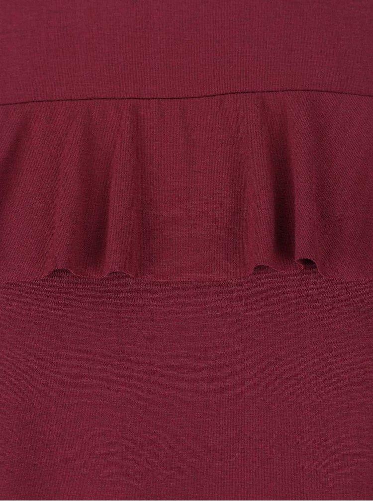 Vínové šaty s volánkem VERO MODA Tammi