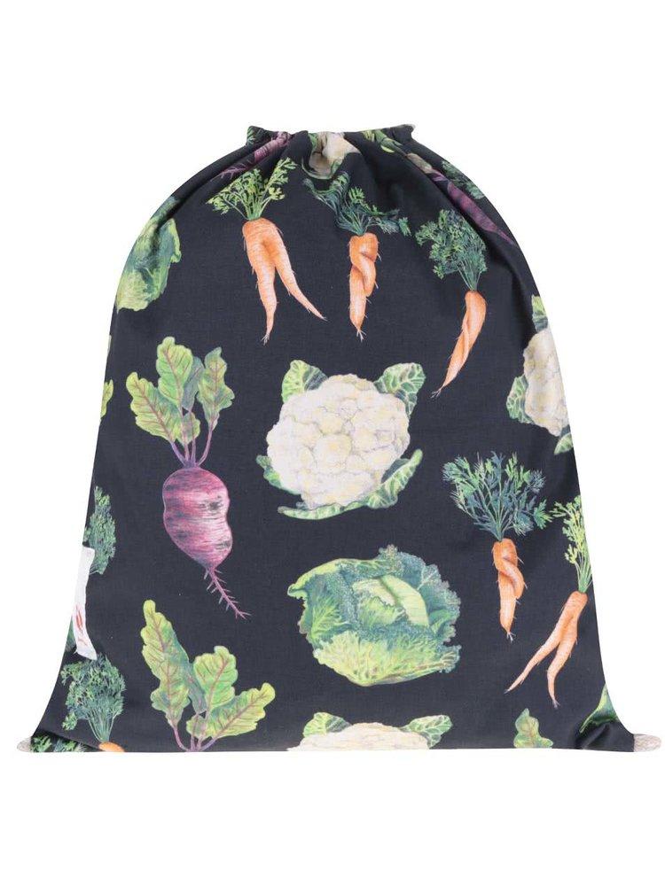 """""""Dobrý"""" černý vak s potiskem zeleniny pro Zachraň jídlo"""