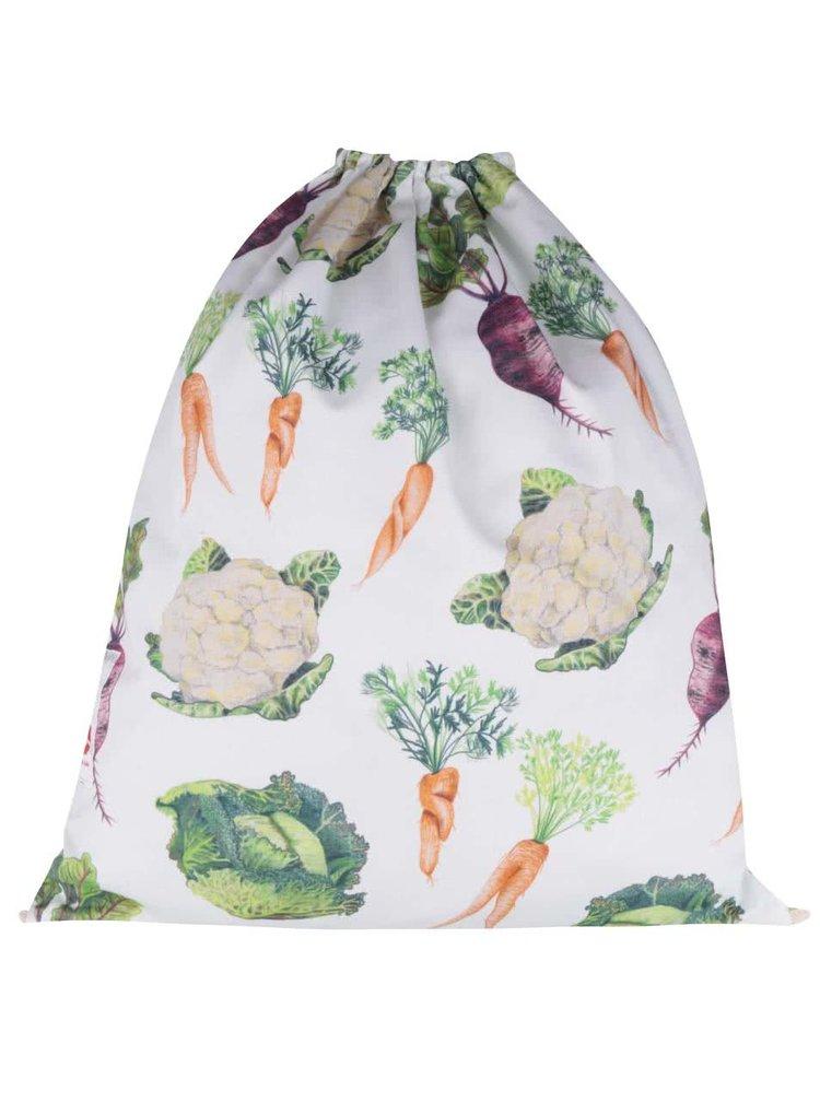 """""""Dobrý"""" biely vak s potlačou zeleniny pre Zachraň jídlo"""