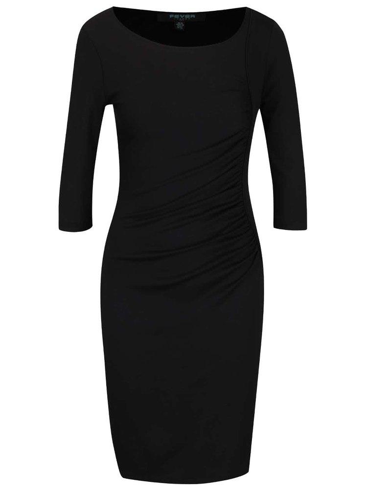 Černé přiléhavé šaty s 3/4 rukávy Fever London Monroe