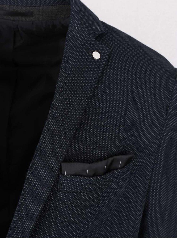 Tmavě modré neformální sako s jemným vzorem Selected Homme Done Dot