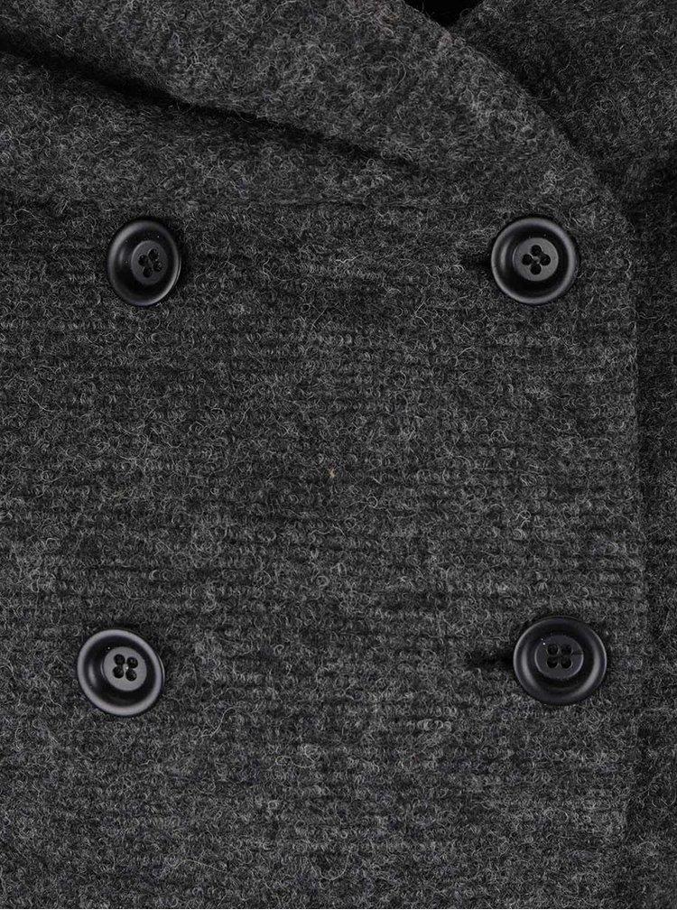 Tmavě šedý vlněný kabát s kapucí a páskem ONLY Lisa