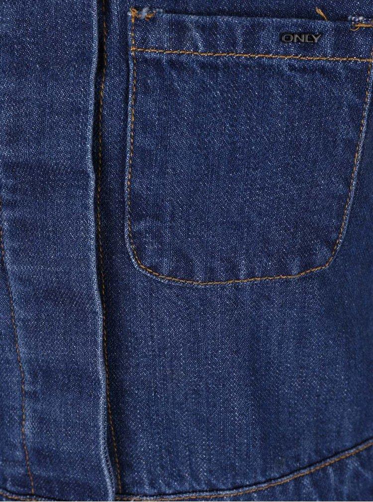 Modré rifľové minišaty s trakmi ONLY Lily