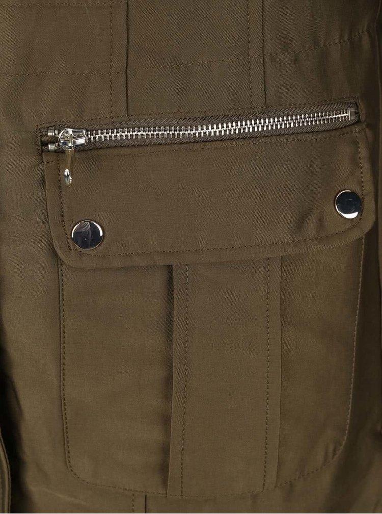Khaki kabát s umělou kožešinou Miss Selfridge