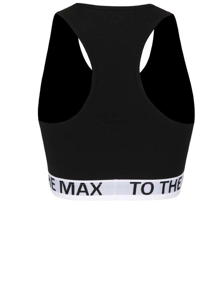 Černá sportovní podprsenka s bílou gumou ONLY Kate