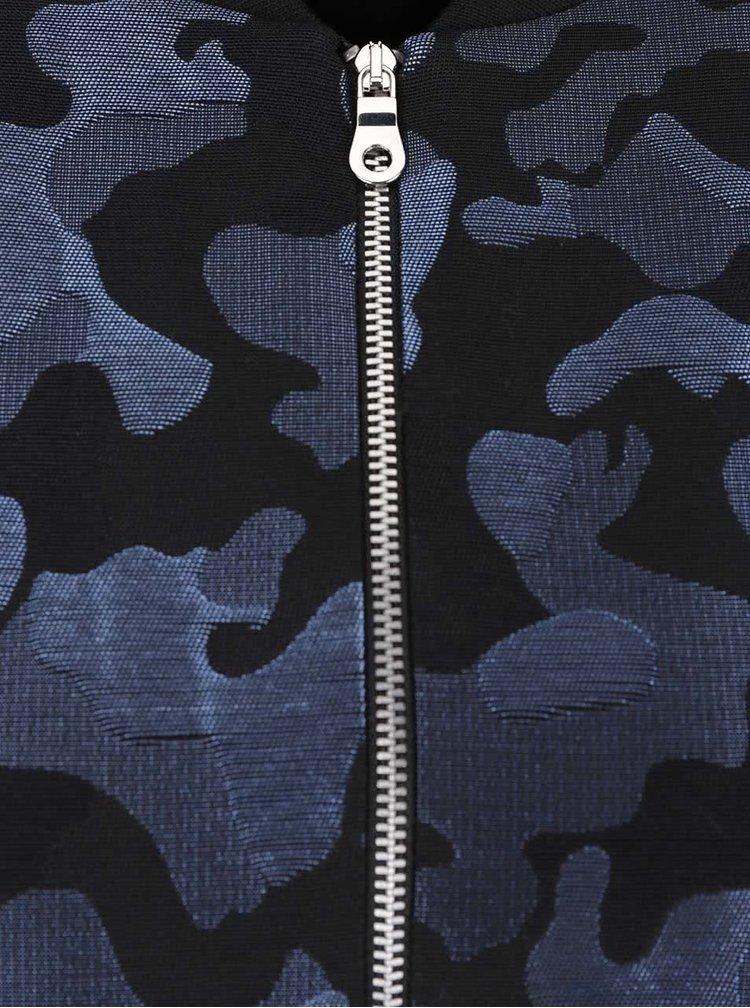 Čierno-modrý vzorovaný bomber Miss Selfridge