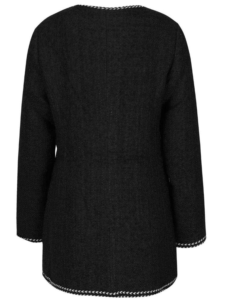 Palton negru Darling Cece cu detalii albe