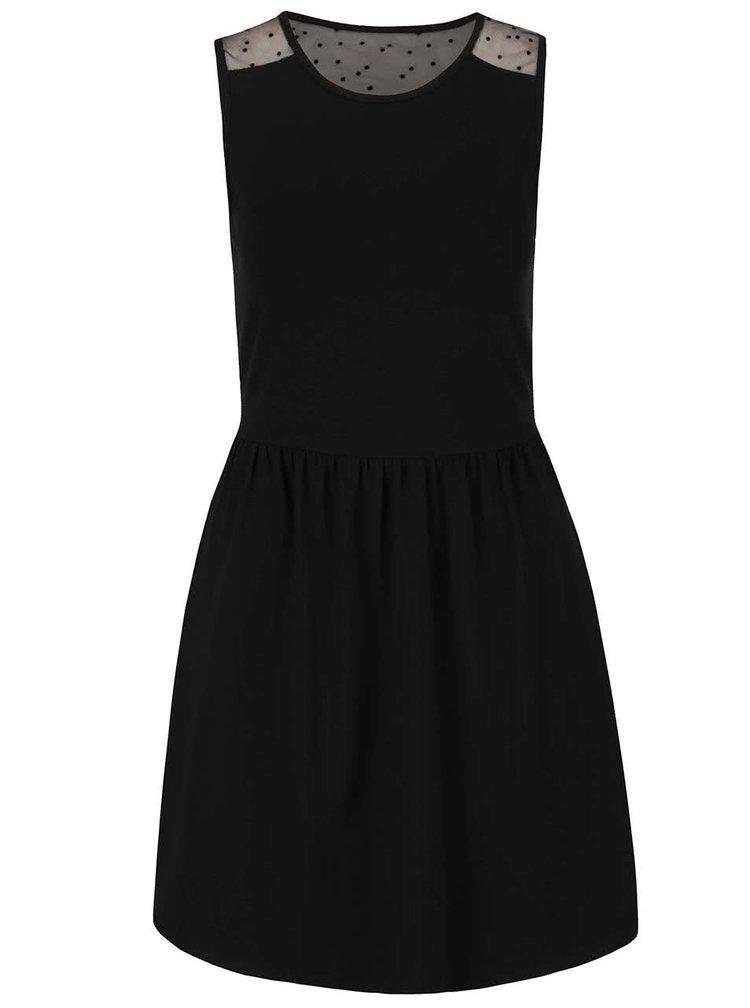 Čierne šaty s priesvitnými detailmi na ramenách a na chrbáte ONLY Niella II.