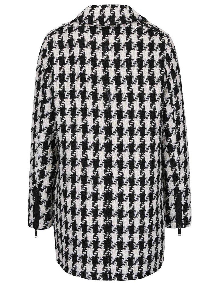 Čierno-krémový vzorovaný kabát s asymetrickým zapínaním Darling Caia