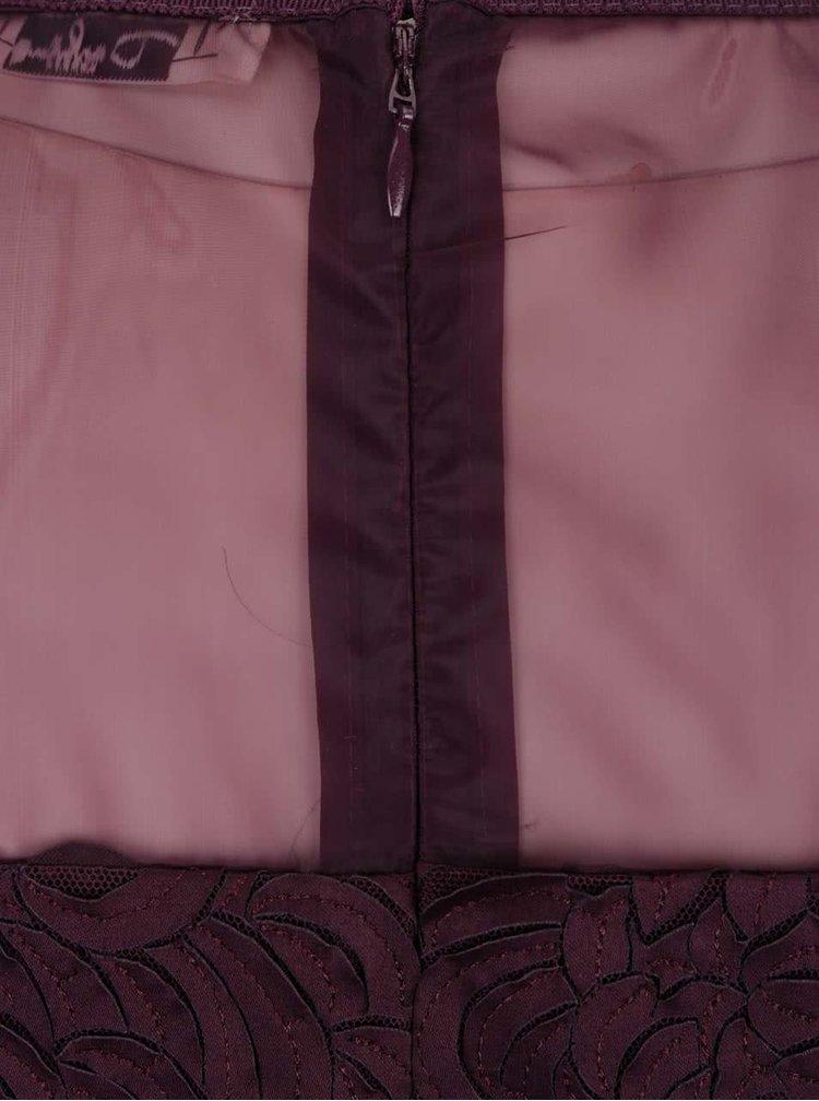 Fialové vzorované šaty s průsvitnou horní částí Darling Claris